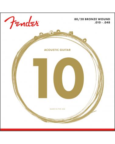 Fender Juego de cuerdas 80/20 Bronze Acoustic Strings, Ball End, 70XL .010-.048