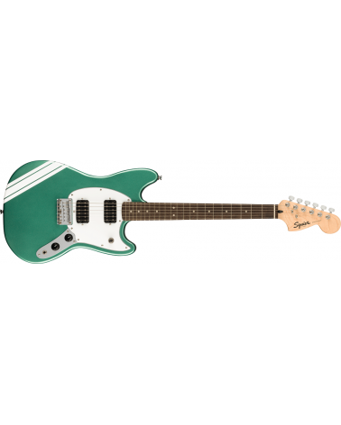 Squier FSR Bullet Competition Mustang HH, Laurel Fingerboard, White Pickguard, Sherwood Green with Olympic White Stripes