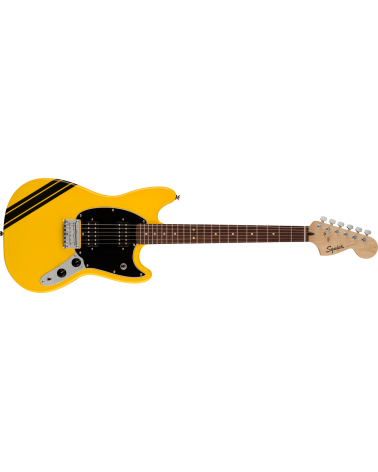 Squier FSR Bullet Competition Mustang HH, Laurel Fingerboard, Black Pickguard, Graffiti Yellow with Black Stripes